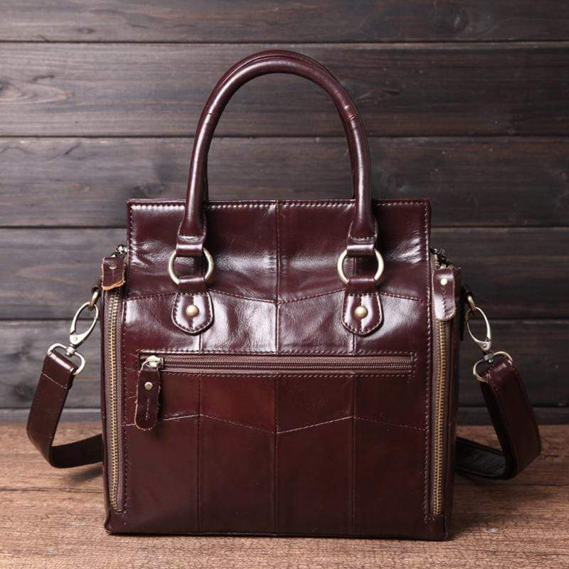 Obangbag Women Retro Vintage Genuine Leather Handbag Multi Pockets Shoulder Bag Handbag File Case