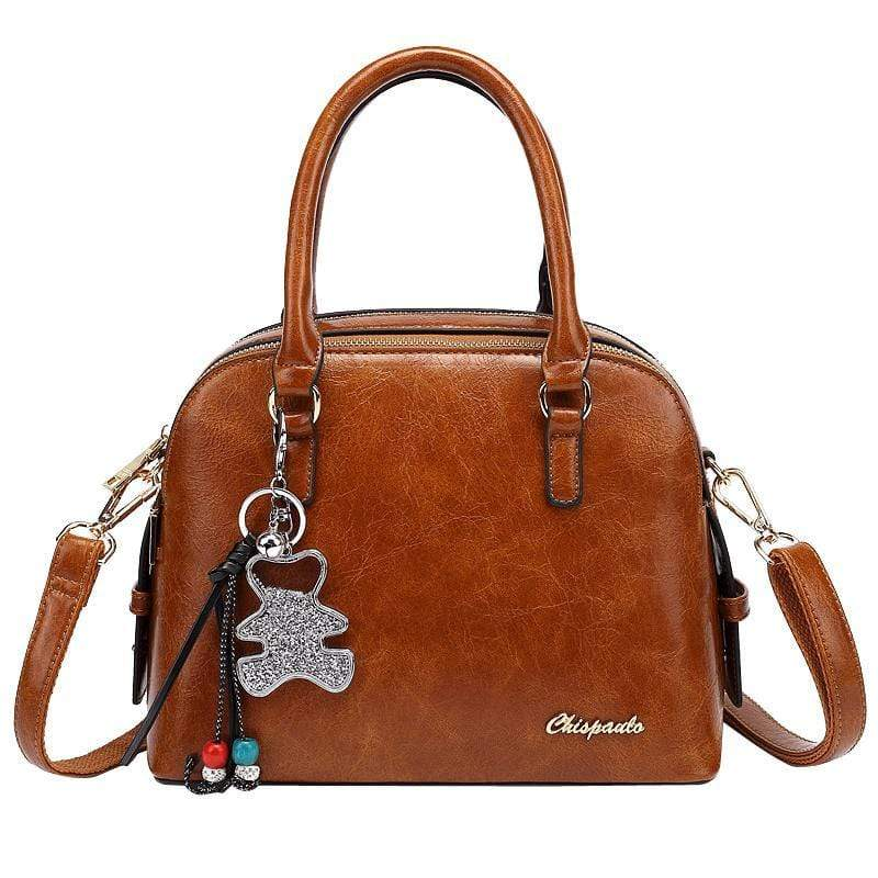 Obangbag Women Retro Vintage Leather Handbag Multi Pockets Shoulder Bag