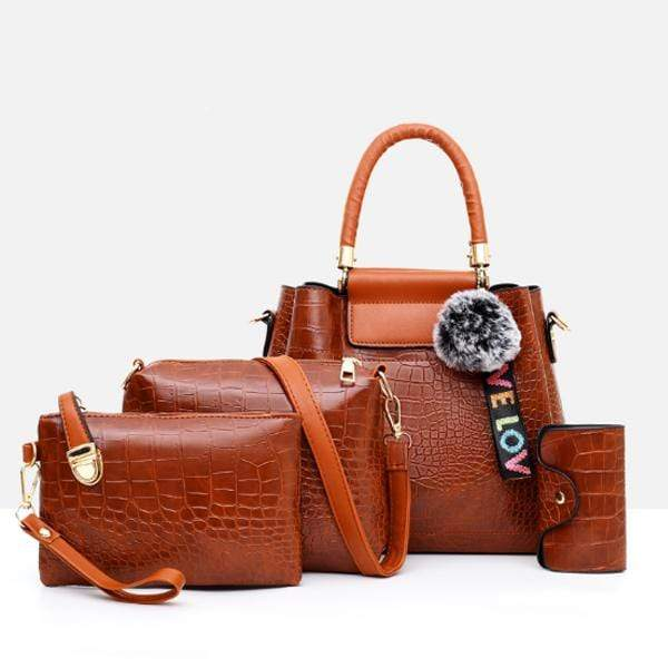Obangbag Women Retro Vintage Multi Pockets Crocodile Leather 4In1 Shouder Bag Crossbody Bag Purse Handbag