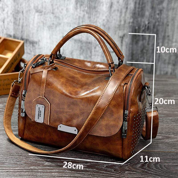 Obangbag Women Retro Vintage Rivet Oil Wax Leather Large Capacity Handbag