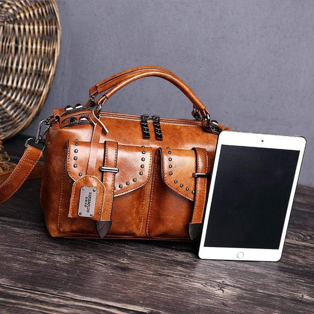 Obangbag Women's Retro Vintage Leather Multi-Pocket Large Capacity Handbag Messenger Bag