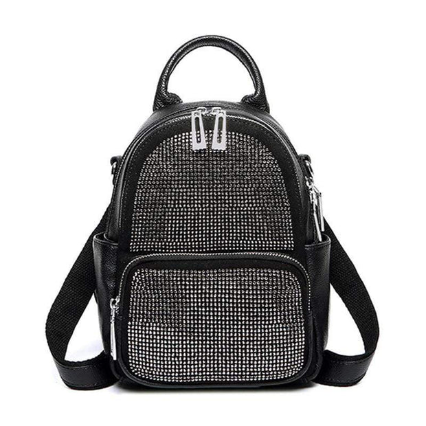 Obangbag Women's Vintage Crystal Multi Function Leather Backpack