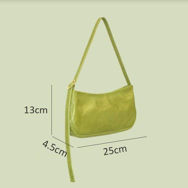 Obangbag Women Simple Chic Oil Wax Leather Baguette Handbag Underarm Shoulder Bag