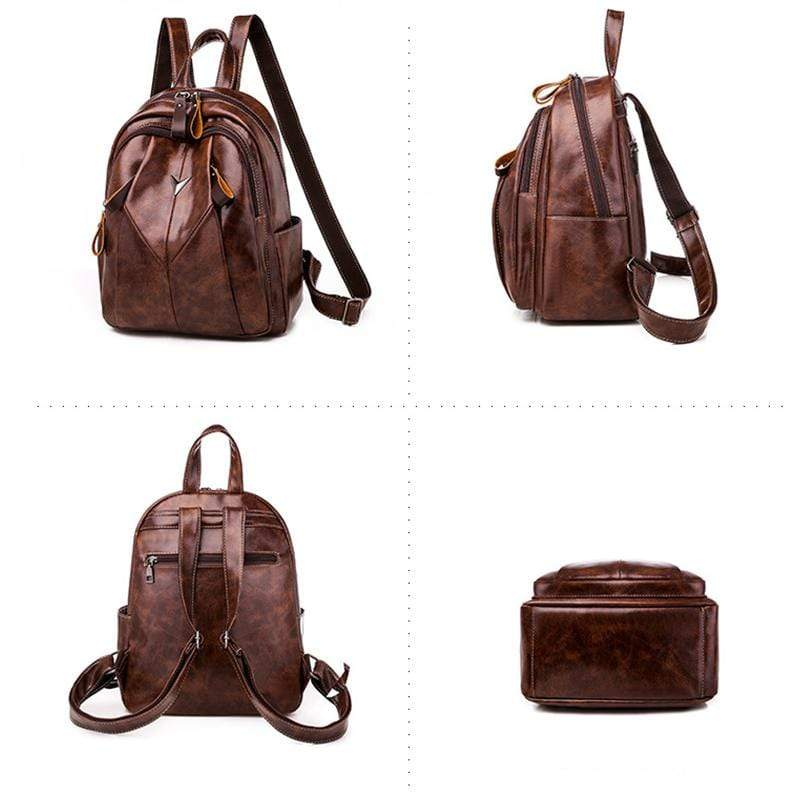 Obangbag Women Simple Daily Large Capacity Multifunction Leather Backpack Bookbag