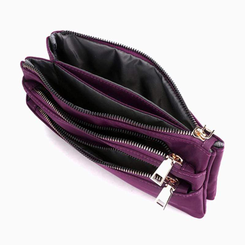 Obangbag Women Simple Lightweight Multi Layers Daily Multi Pockets Nylon Shoulder Bag Crossbody Bag