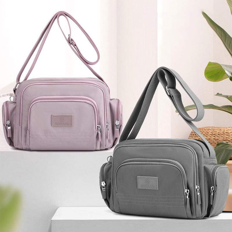 Obangbag Women Simple Multi Pockets Multifunction Lightweight Waterproof Nylon Shoulder Bag Crossbody Bag
