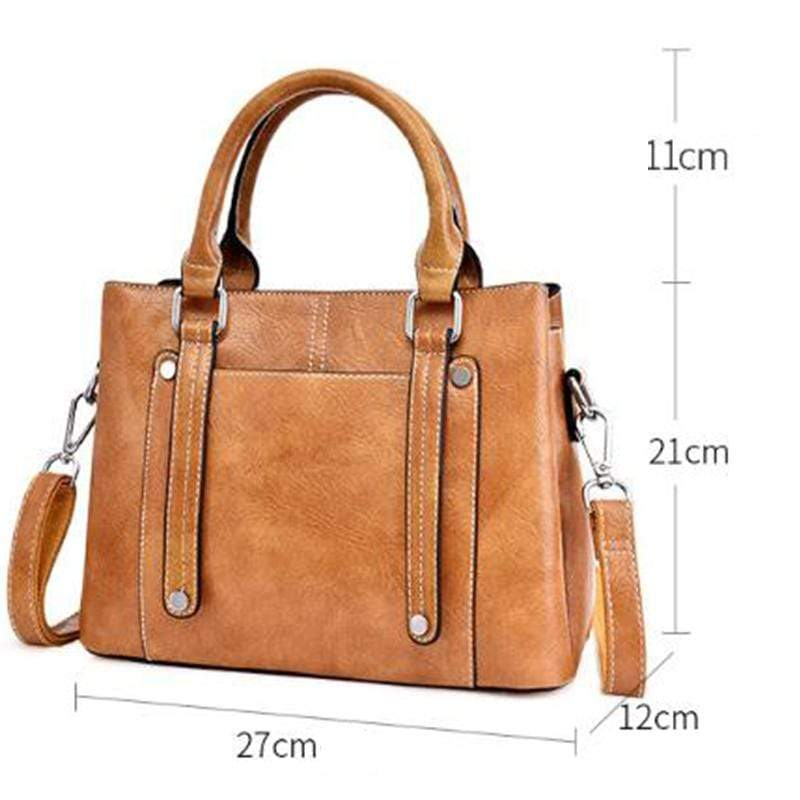 Obangbag Women Simple Vintage Big Large Capacity PU Leather Handbag Crossbody Bag