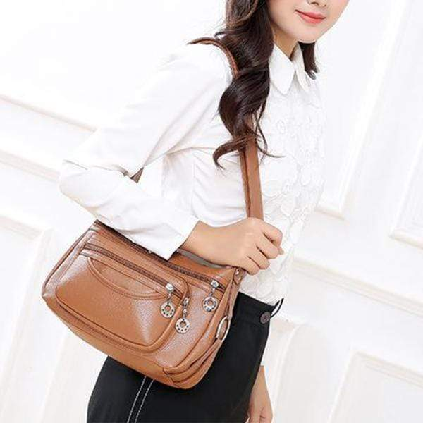 Obangbag Women Soft Leather Large Capacity Multifunction Crossbody Bag Shoulder Bag