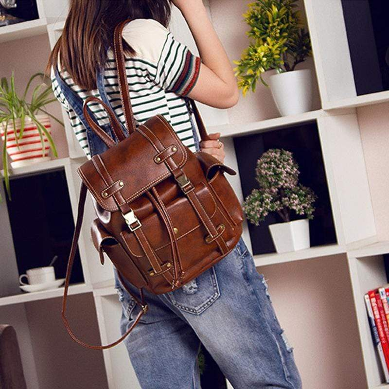 Obangbag Women Stylish Chic Large Capacity Multi Pockets Leather Backpack Bookbag for Travel for School