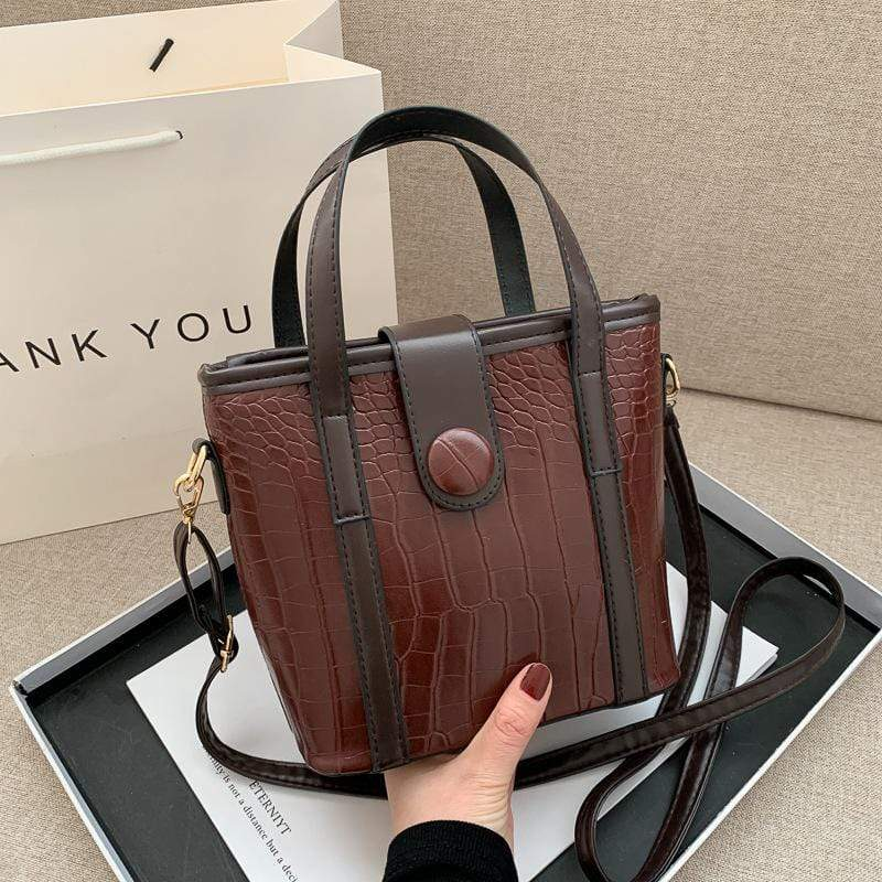 Obangbag Women Stylish Cute Roomy Lightweight Crocodile Pattern Leather Bucket Bag Handbag Crossbody Bag