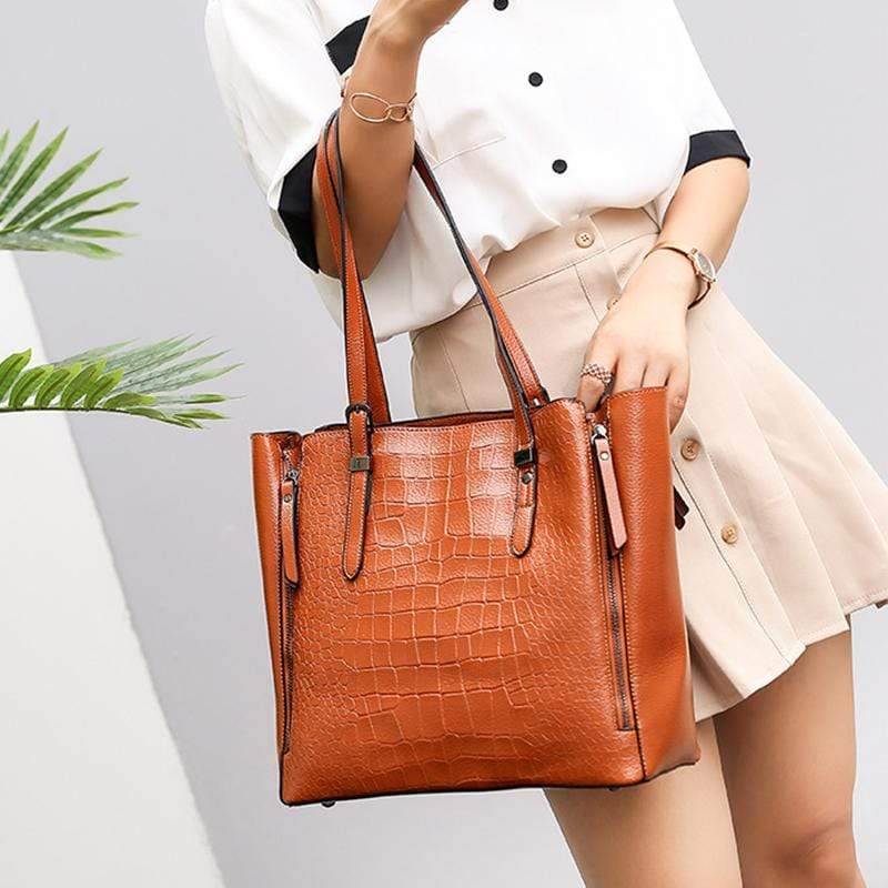 Obangbag Women Stylish Fashion Large Capacity Crocodile Pattern Oil Wax Leather Tote Bag Handbag