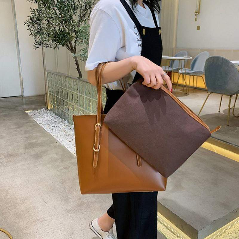 Obangbag Women Stylish Professional Big Large Capacity PU Leather Handbag Toter Bag Bag Set for Work