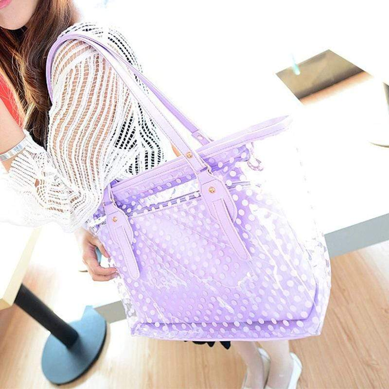 Obangbag Women Stylish Street  Large Capacity Clear Transparent Plastic PU Leather Tote Bag Shoulder Bag Bag Set