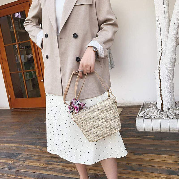Obangbag Women Summer Floral Ribbon Straw Woven Shoulder Bag