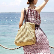 Obangbag Women Summer Stylish Straw Woven Large Beach Tote Bag