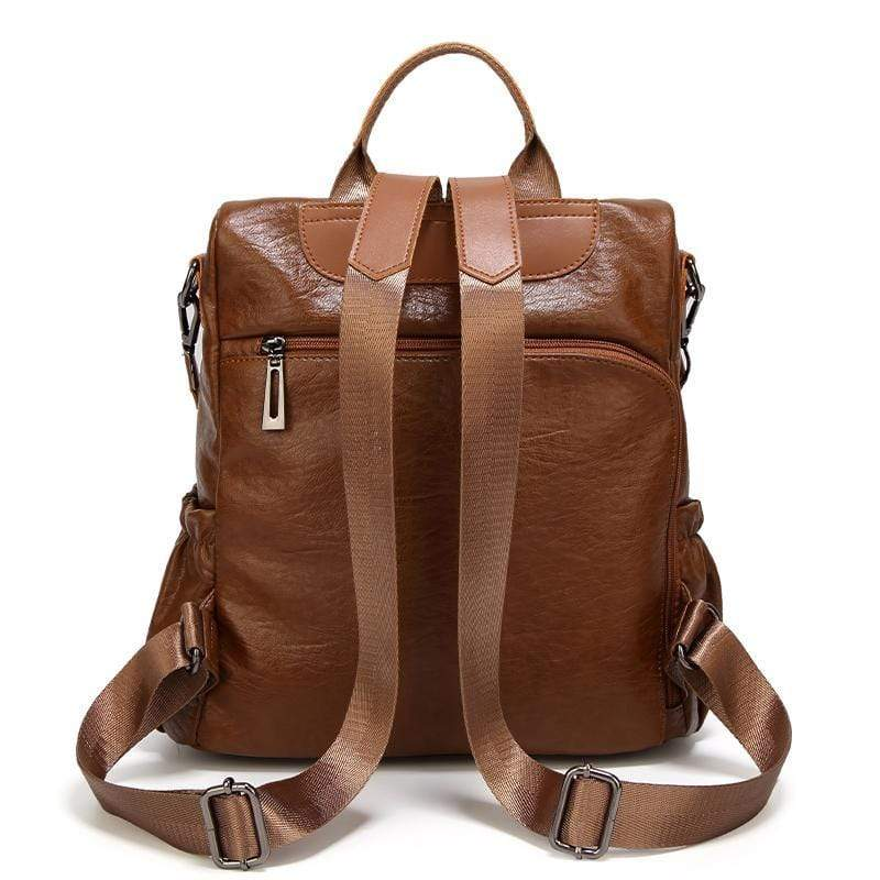 Obangbag Women Tassel Double Layer Pockets Fashion Leather Work Backpack