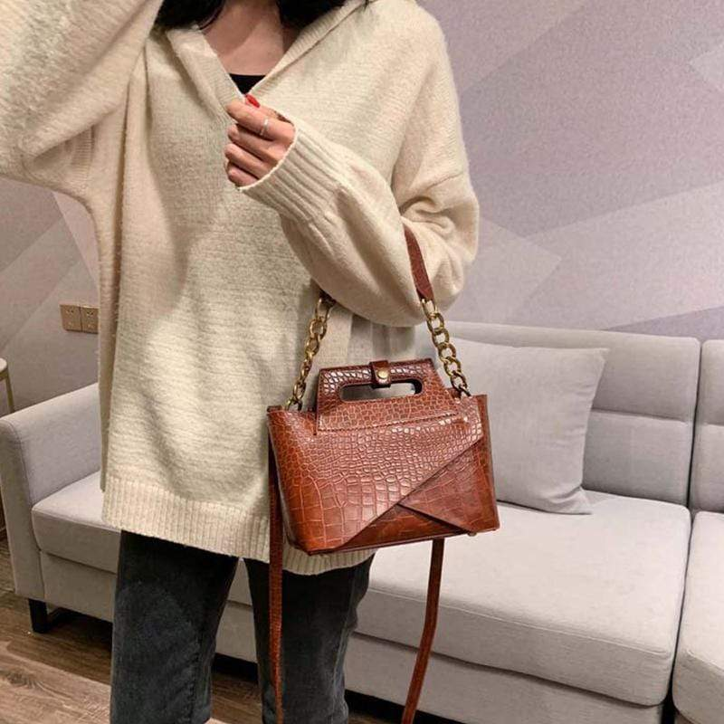 Obangbag Women Vintage Chic Fashion Roomy Multifunction Crocodile Pattern Leather Crossbody Bag Handbag Bag Set