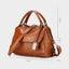 Obangbag Women Vintage Chic Multi Pockets Multifunction Roomy Oil Wax Leather Boston Bag Handbag Crossbody Bag