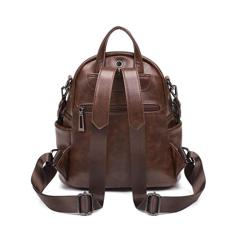 Obangbag Women Vintage Chic Multifunction Anti-theft Oil Wax Leather Backpack Shoulder Bag for Travel