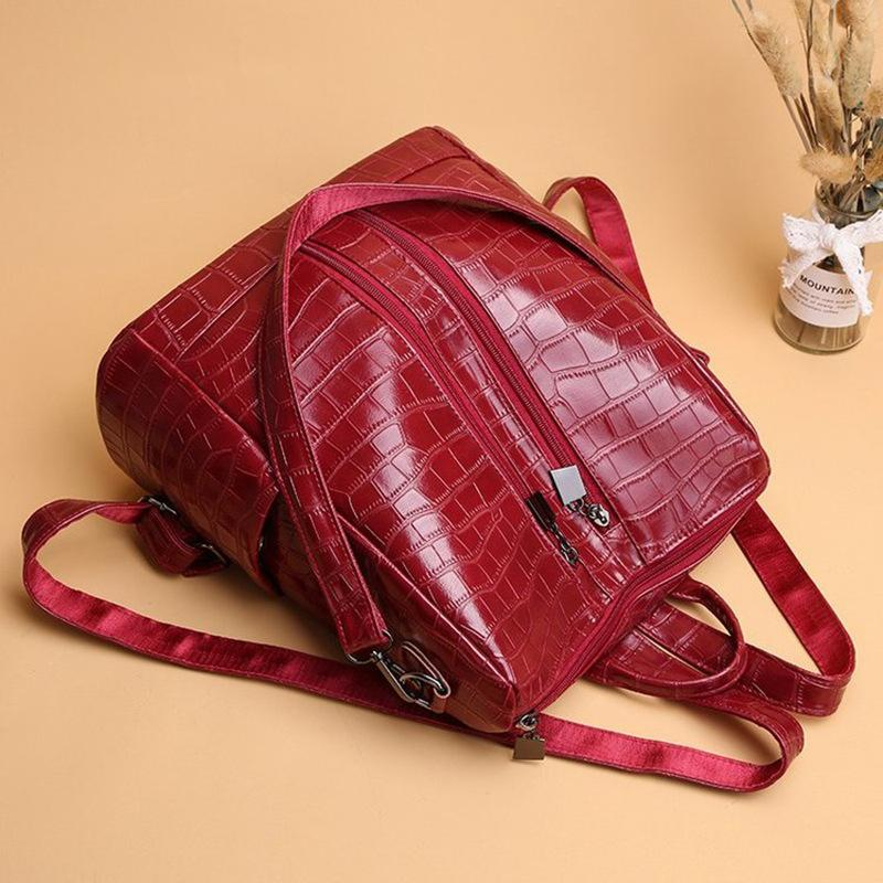 Obangbag Women Vintage Chic Multifunction Multi Pockets Roomy Leather Crocodile Pattern Backpack Shoulder Bag