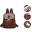 Obangbag Women Vintage Chic Roomy Multifunction Casual Soft Leather Backpack Bookbag