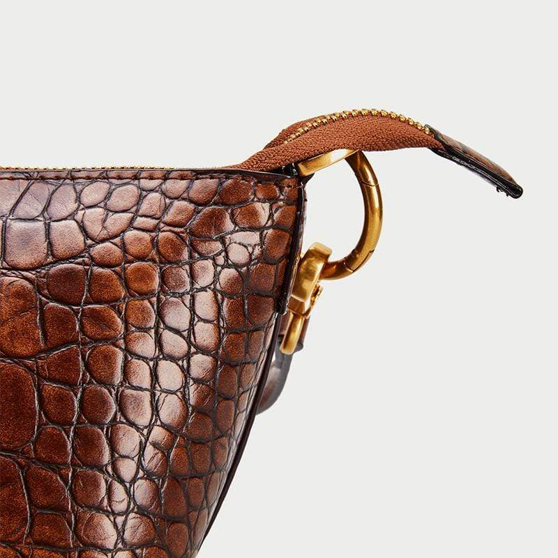 Obangbag Women Vintage Crocodile Pattern Leather Shoulder Bag Fashion Bucket Bag