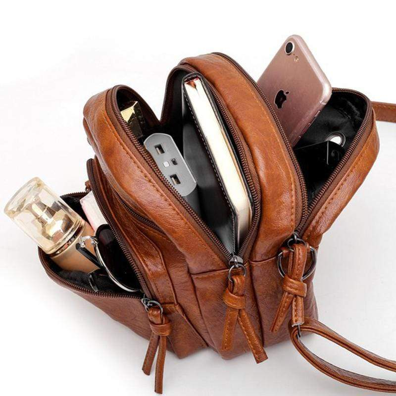 Obangbag Women Vintage Cute MIni Multi Layers Roomy Lightweight Leather Crossbody Bag Shoulder Bag