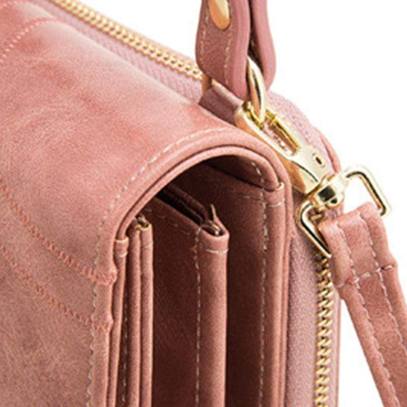 Obangbag Women Vintage Cute Multi Layers Roomy Portable Leather Phone Bag Wallet Crossbody Bag