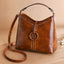 Obangbag Women Vintage Elegant Large Capacity Lightweight Oil Wax Leather Bucket Bag Handbag Crossbody Bag
