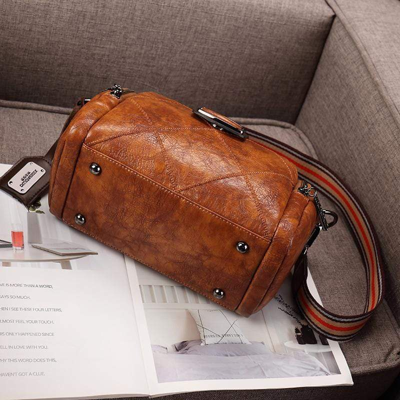 Obangbag Women Vintage Elegant Large Capacity Multi Pockets Multifunction Oil Wax Leather Handbag Shoulder Bag Crossbody Bag