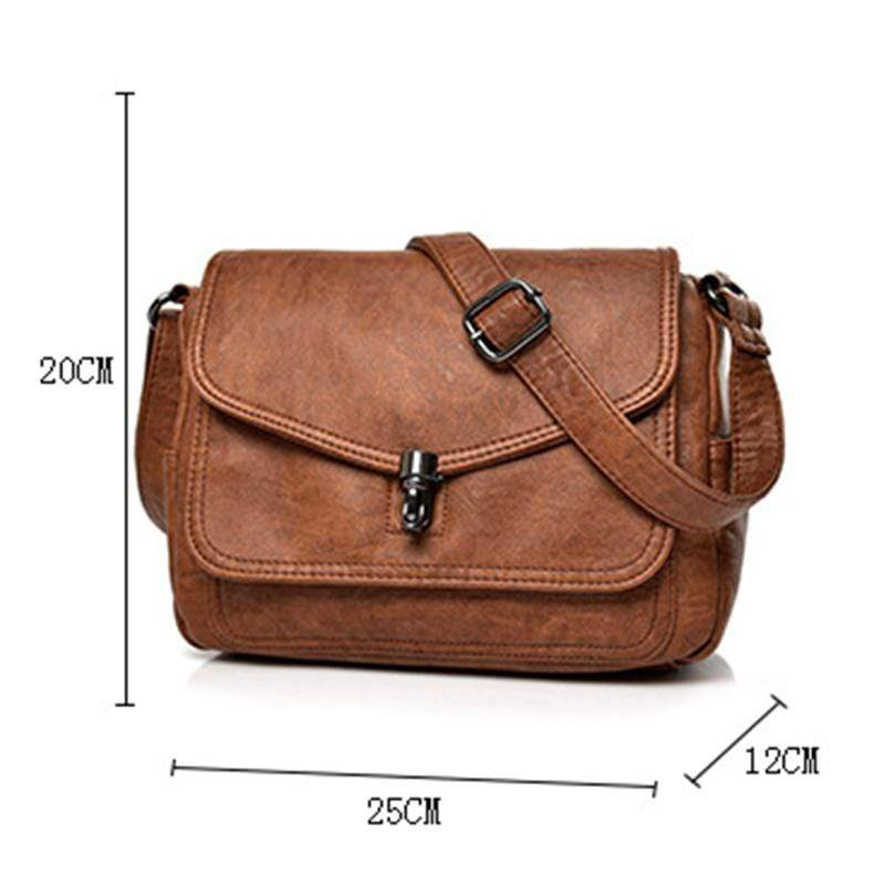 Obangbag Women Vintage Elegant Roomy Multi Pockets Professional Soft Leather Crossbody Bag