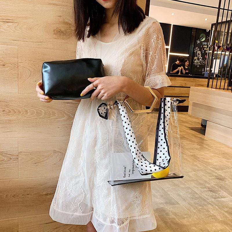 Obangbag Women Vintage Fashion Designer Transparent See Through Slik Plastic Handbag Bag Set Shoulder Bag