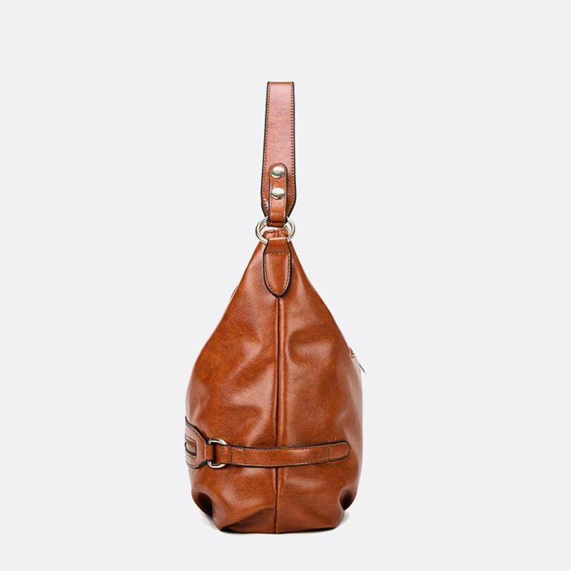 Obangbag Women Vintage Fashion Large Capacity Roomy Anti-theft Leather Tote Bag Crossbody Bag for Work