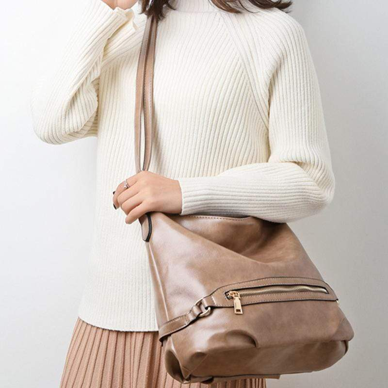 Women Vintage Fashion Large Capacity Roomy Anti-theft Leather Tote Bag Crossbody Bag for Work