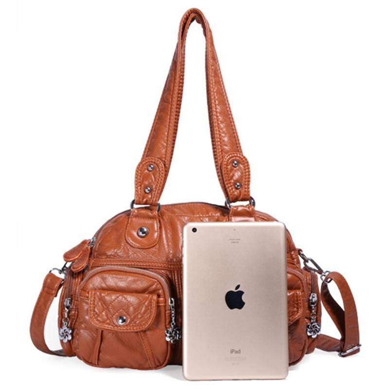 Obangbag Women Vintage Fashion Professional Multi Pockets Roomy Soft Leather Shoulder Bag Crossbody Bag