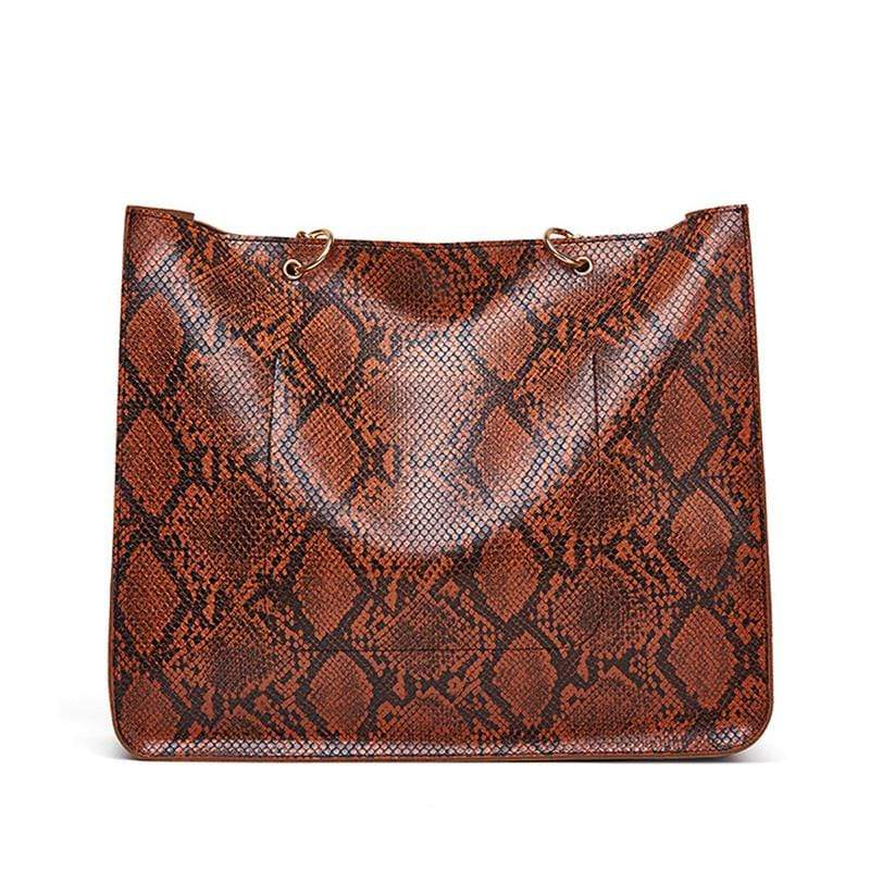 Obangbag Women Vintage Large Capacity Lightweight Multifunction Snake Skin Pattern Leather Handbag Shoulder Bag Chain Bag