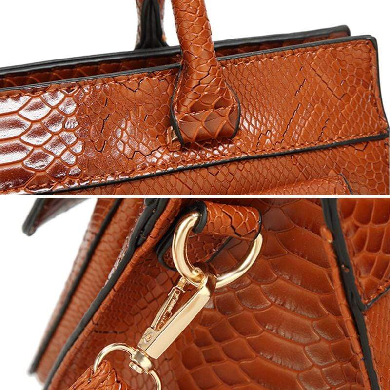 Obangbag Women Vintage Large Capacity Multi Pockets Snake Skin Pattern Leather Boston Bag Handbag Crossbody Bag