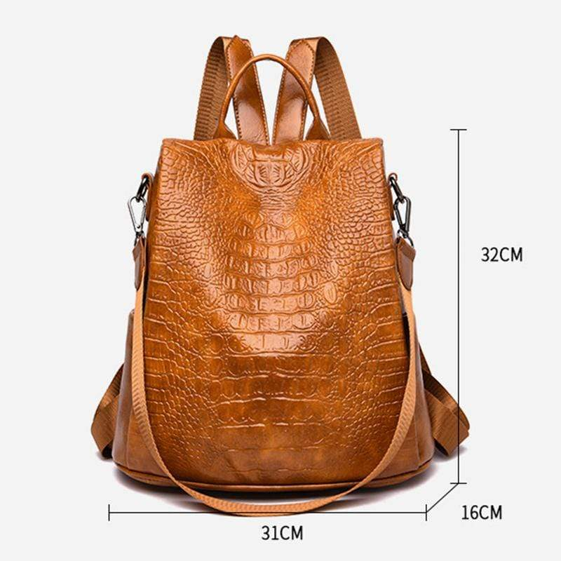 Obangbag Women Vintage Large Capacity Multifunction Anti-theft Crocodile Pattern Leather Backpack Shoulder Bag