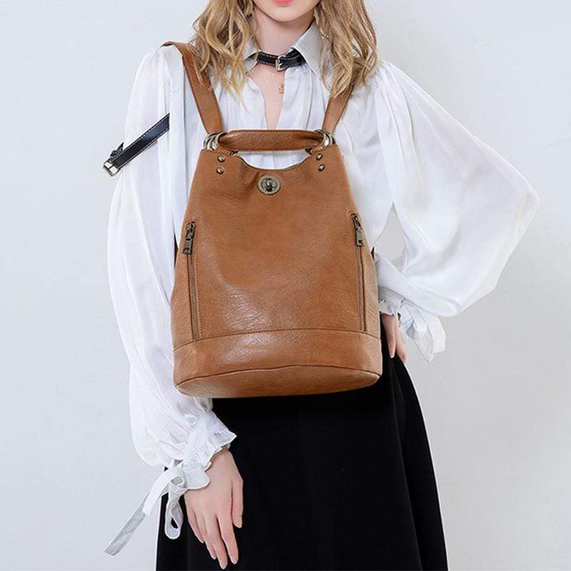 Obangbag Women Vintage Large Capacity Multifunction Multi Pockets Leather Bucket Bag Backpack Shoulder Bag for Work for Travel