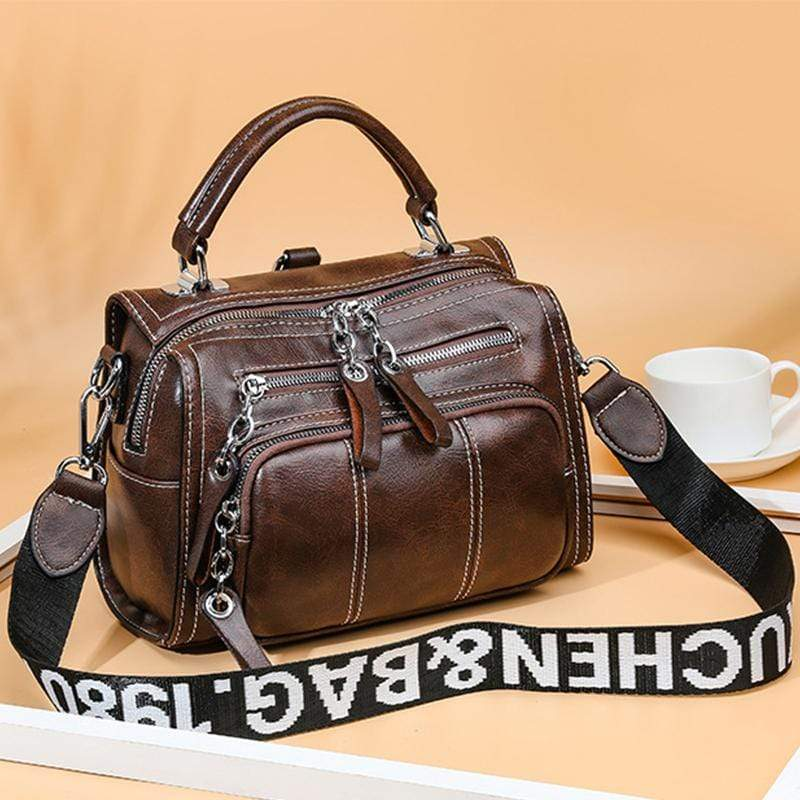 Obangbag Women Vintage Lightweight Daily Large Capacity Multifunction Multi Pockets Leather Handbag Crossbody Bag Backpack