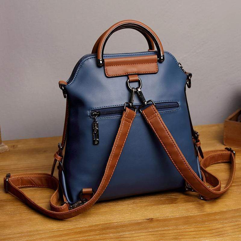 Obangbag Women Vintage Multi Pockets Colorful Leather Backpack Shoulder Bag