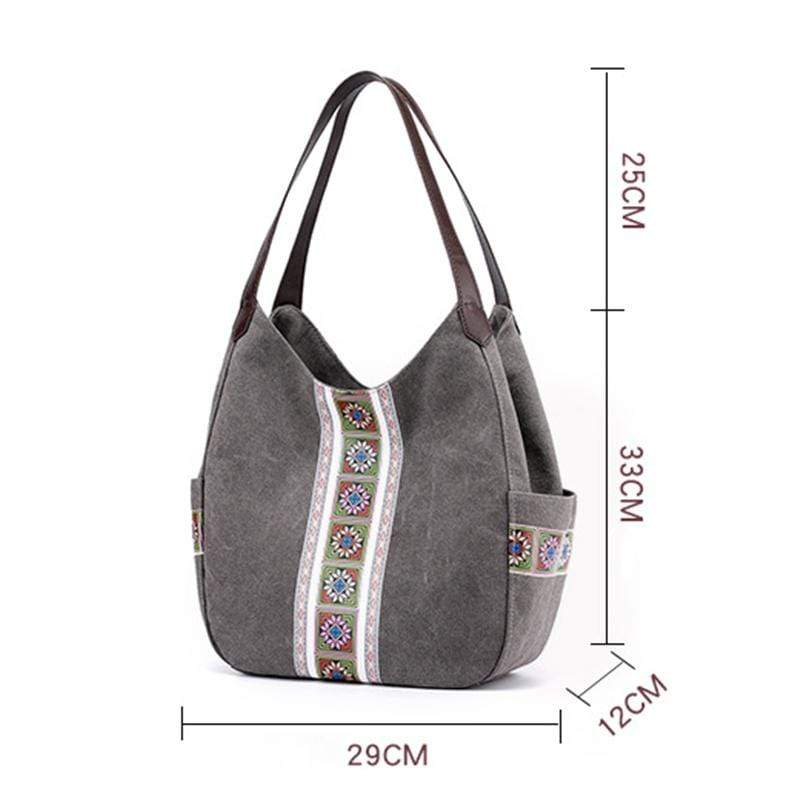 Obangbag Women Vintage Multi Pockets Multi Layers Printed Roomy Canvas Tote Bag Handbag
