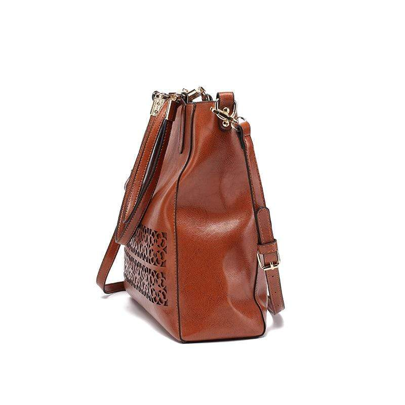 Obangbag Women Vintage Multifunction Large Capacity Floral Oil Wax Leather Tote Bag Crossbody Bag Handbag