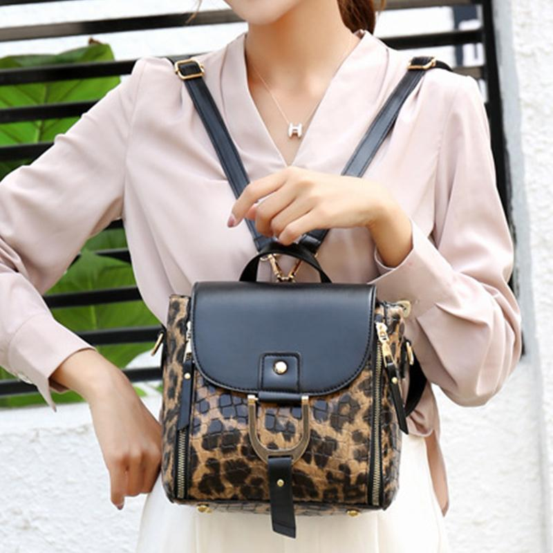 Obangbag Women Vintage Multifunction Roomy Leopard Pattern Leather Bag Set Backpack Crossbody Bag Purse
