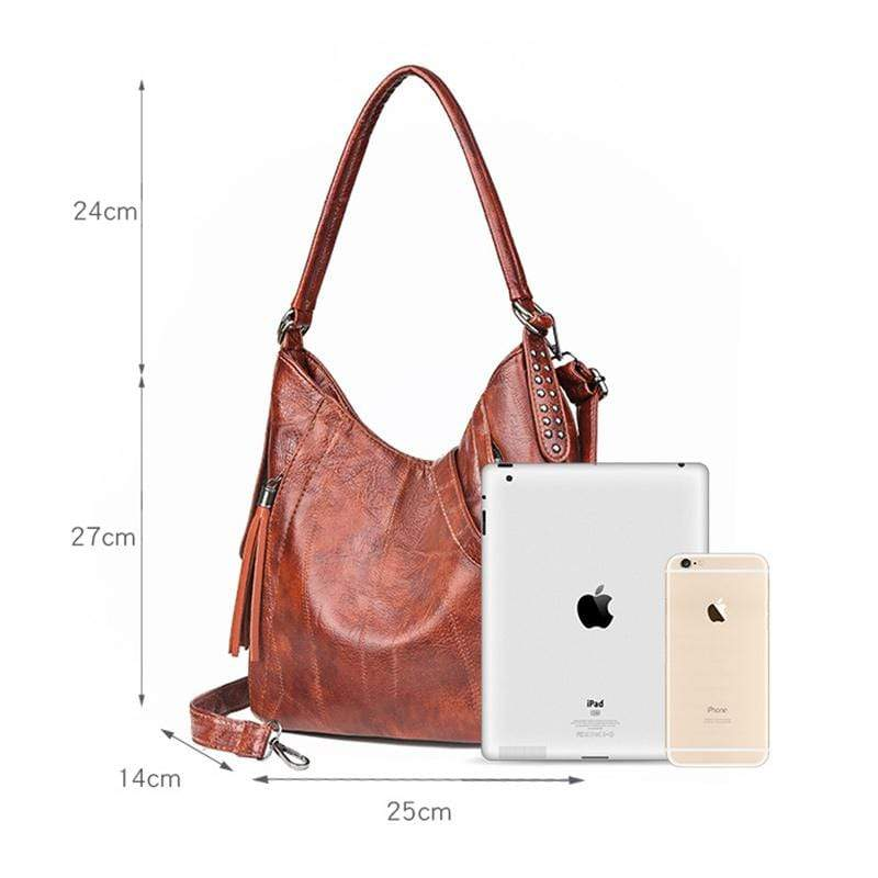 Obangbag Women Vintage Retro Big Large Capacity Professional Leather Handbag Crossbody Bag for Work