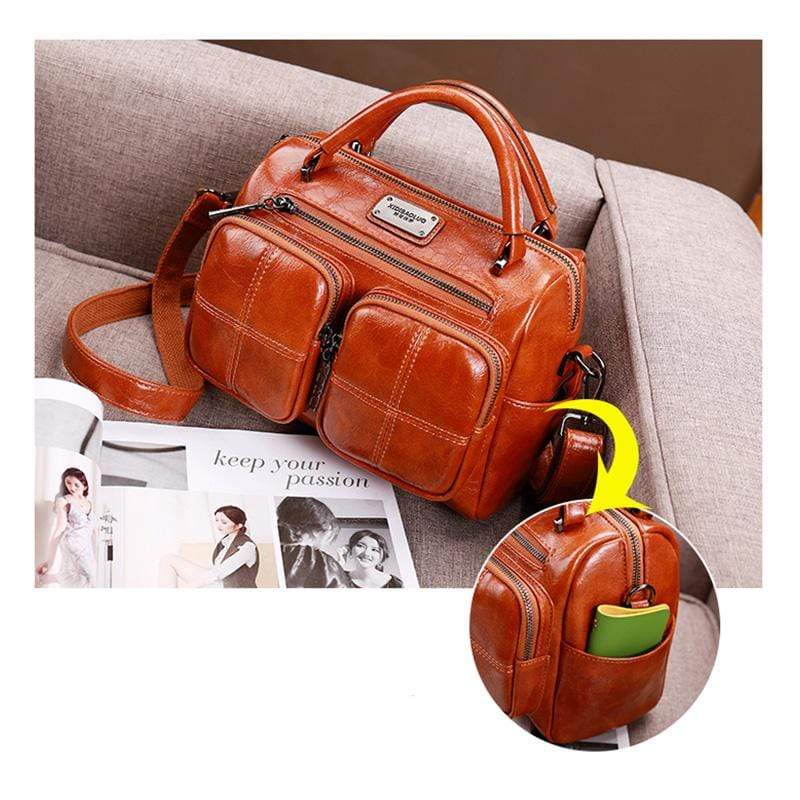 Obangbag Women Vintage Retro Leather Large Capacity Multi Pocket Messenger Bag Handbag Shoulder Bag