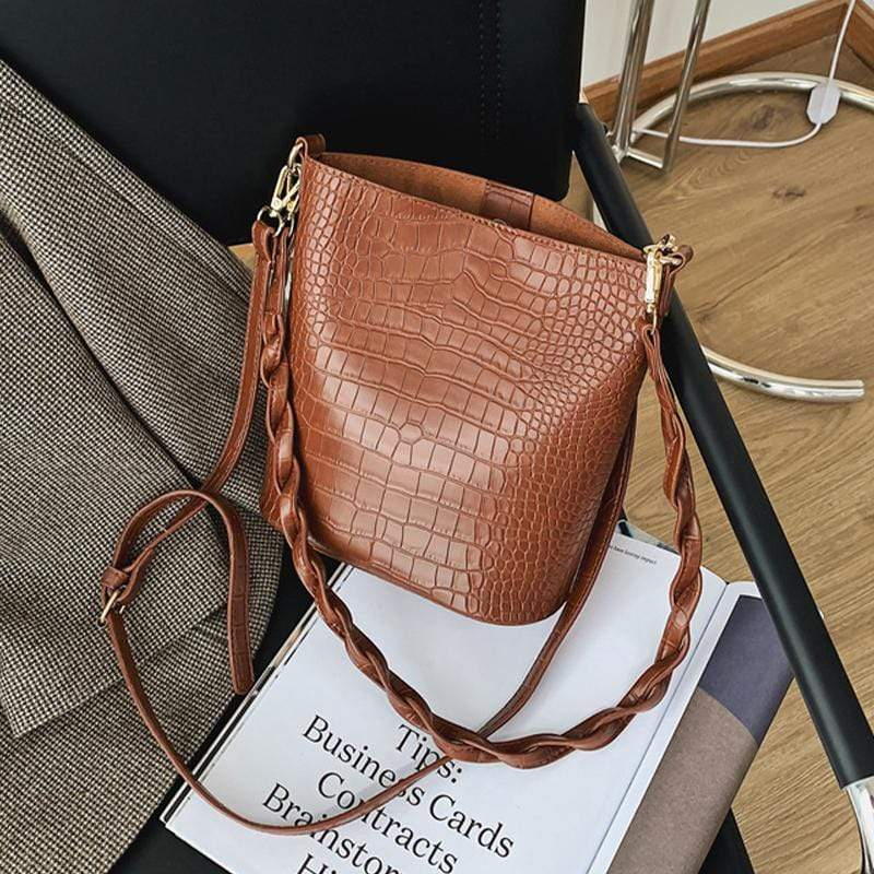 Obangbag Women Vintage Roomy Lightweight Woven Daily Crocodile Pattern Leather Bucket Bag Bag Set Crossbody Bag