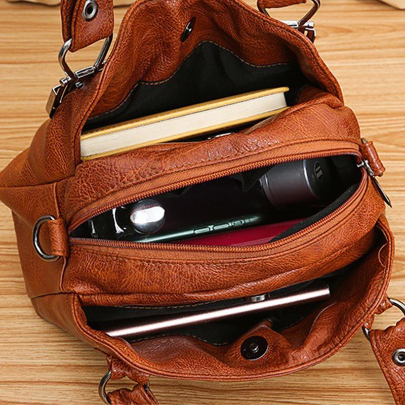 Obangbag Women Vintage Roomy Multi Pockets Professional Soft Leather Handbag Crossbody Bag