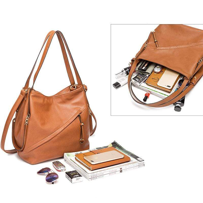 Obangbag Women Vintage Simple Multi Pockets Anti-theft Soft Leather Bag Set Shoulder Bag Crossbody Bag