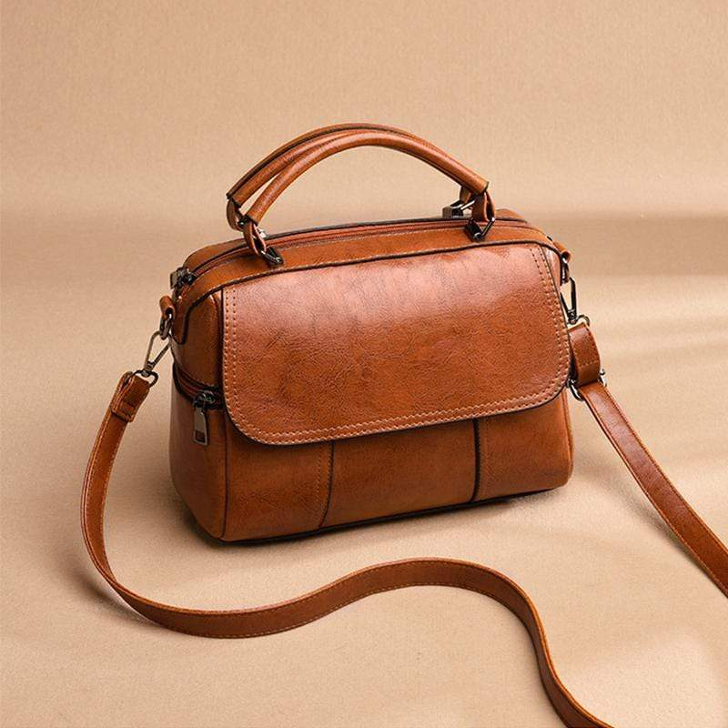 Obangbag Women Vintage Simple Multi Pockets Large Capacity Leather Handbag Crossbody Bag for Work